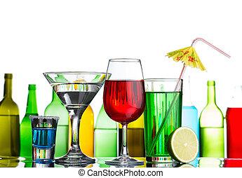 diferente, álcool, bebidas, e, coquetéis, ligado, barzinhos