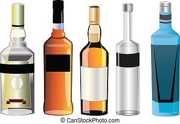 diferente, álcool, sabores