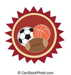 diferente, ícone, três, esportes