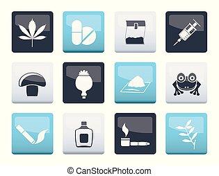 diferente, ícones, cor, sobre, tipo, droga, fundo