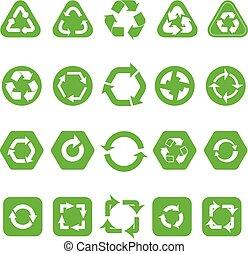 diferente, ícones, isolado, cobrança, recicle, branca