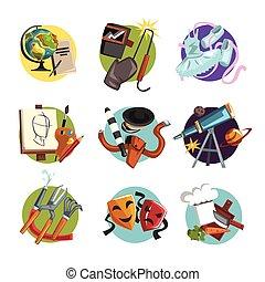 diferente, ícones, jogo, profissões, símbolos, vetorial, ilustrações, profissional, ferramentas