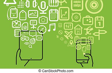 diferente, ícones, modernos, fluxos, dispositivos, tecno