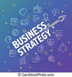 diferente, ícones negócio, concept., estratégia, magra, ...