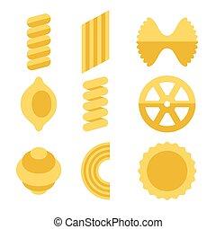 diferente, ícones, set., vetorial, macarronada, tipos