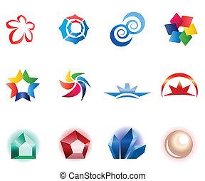 diferente, 12, coloridos, vetorial, symbols:, 1), (set