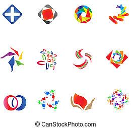 diferente, 12, coloridos, vetorial, symbols:, (set, 14)