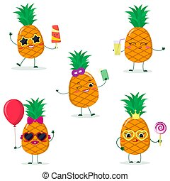 diferente, abacaxis, smiley, caricatura, jogo, cinco, poses, style.