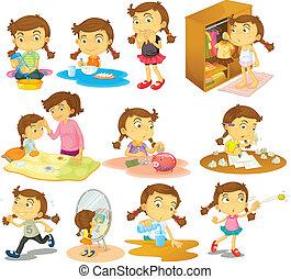 diferente, actividades, de, un, niña joven