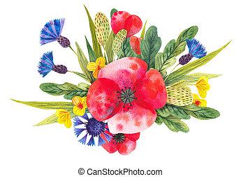diferente, acuarela, brillante, flores salvajes, composición