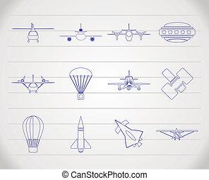 diferente, aeronaves, tipos