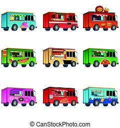 diferente, alimento, camión, diseños