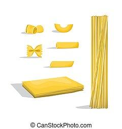 diferente, alimento, set., macarrão, pasta., tipos, italiano