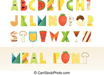 diferente, alphabet., coloridos, alimento, isolado, criativo, letras, branca