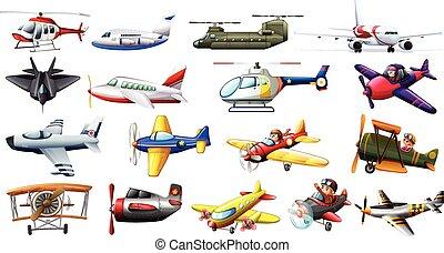 diferente, aviones, clase
