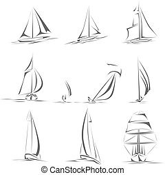 diferente, barcos, icon., navegación