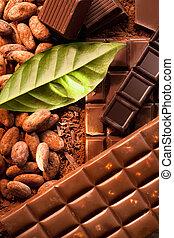 diferente, barras, chocolate
