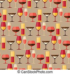 diferente, barzinhos, restaurante, padrão, seamless, glasses., ou