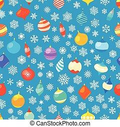 diferente, baubles, snowflakes., padrão, embrulhando, seamless, natal