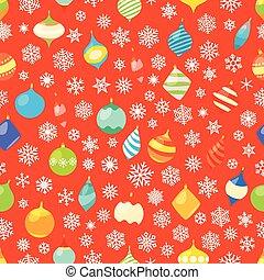 diferente, baubles, snowflakes., padrão, seamless, natal