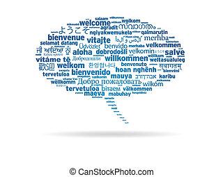 diferente, bem-vindo, -, linguagens, borbulho fala