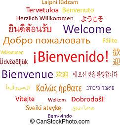 diferente, bienvenida, languages.