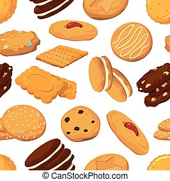 diferente, biscoitos, padrão, seamless, style., vetorial, caricatura