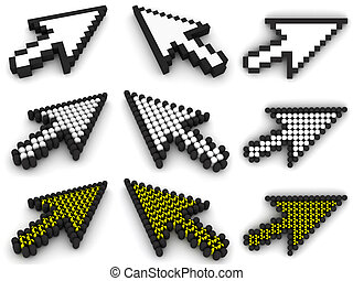 diferente, blanco, cursores, flecha