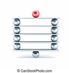 diferente, bolas, metal, -, ilustração, metaphor., prancha, ...