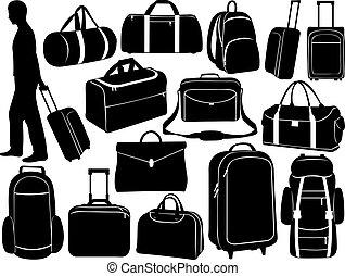 diferente, bolsas, conjunto