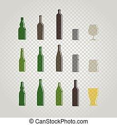 diferente, botellas, y, anteojos, conjunto, aislado, en,...