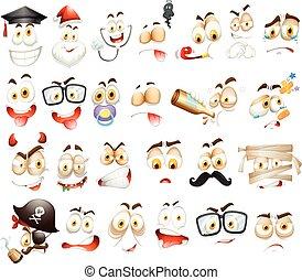 diferente, branca, expressões faciais