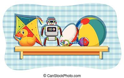 diferente, brinquedos, ligado, madeira, prateleira