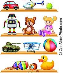 diferente, brinquedos, ligado, madeira, prateleiras