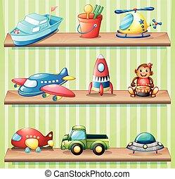 diferente, brinquedos, ligado, prateleiras