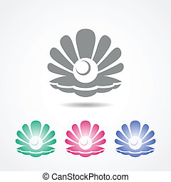 diferente, cáscara, perla, colores, vector, icono