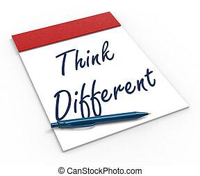diferente, caderno, inovação, mostra, pensar, inspiração