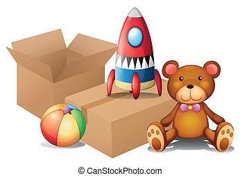 diferente, cajas, dos, juguetes