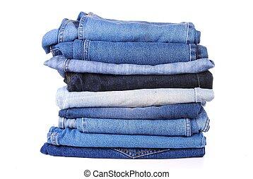 diferente, calças brim azuis, fundo, tipo, pilha, branca