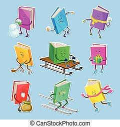 diferente, caras, infantil, livro, vetorial, livros, caráteres, situações, ilustrações, humanized, sorrindo, poses, adesivos, caricatura