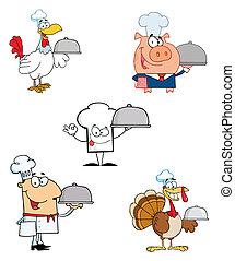 diferente, caricatura, cozinheiro, mascote