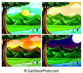 diferente, cena natureza, quatro, tempo, dia