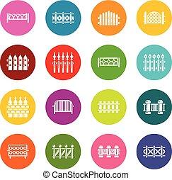 diferente, cercar, ícones, jogo, coloridos, círculos, vetorial