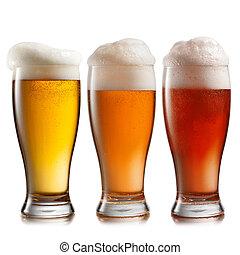diferente, cerveza, en, anteojos, aislado, blanco, plano de...