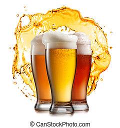 diferente, cerveza, en, anteojos