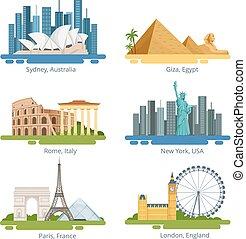 diferente, cidade, panoramas, com, famosos, landmarks., vetorial, ilustrações, jogo