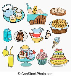 diferente, clase, de, alimento, y, postre, garabato, estilo