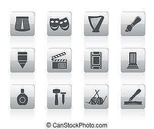 diferente, clase, de, arte, iconos