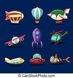 diferente, clase, de, aviones