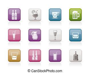 diferente, clase, de, bebida, iconos